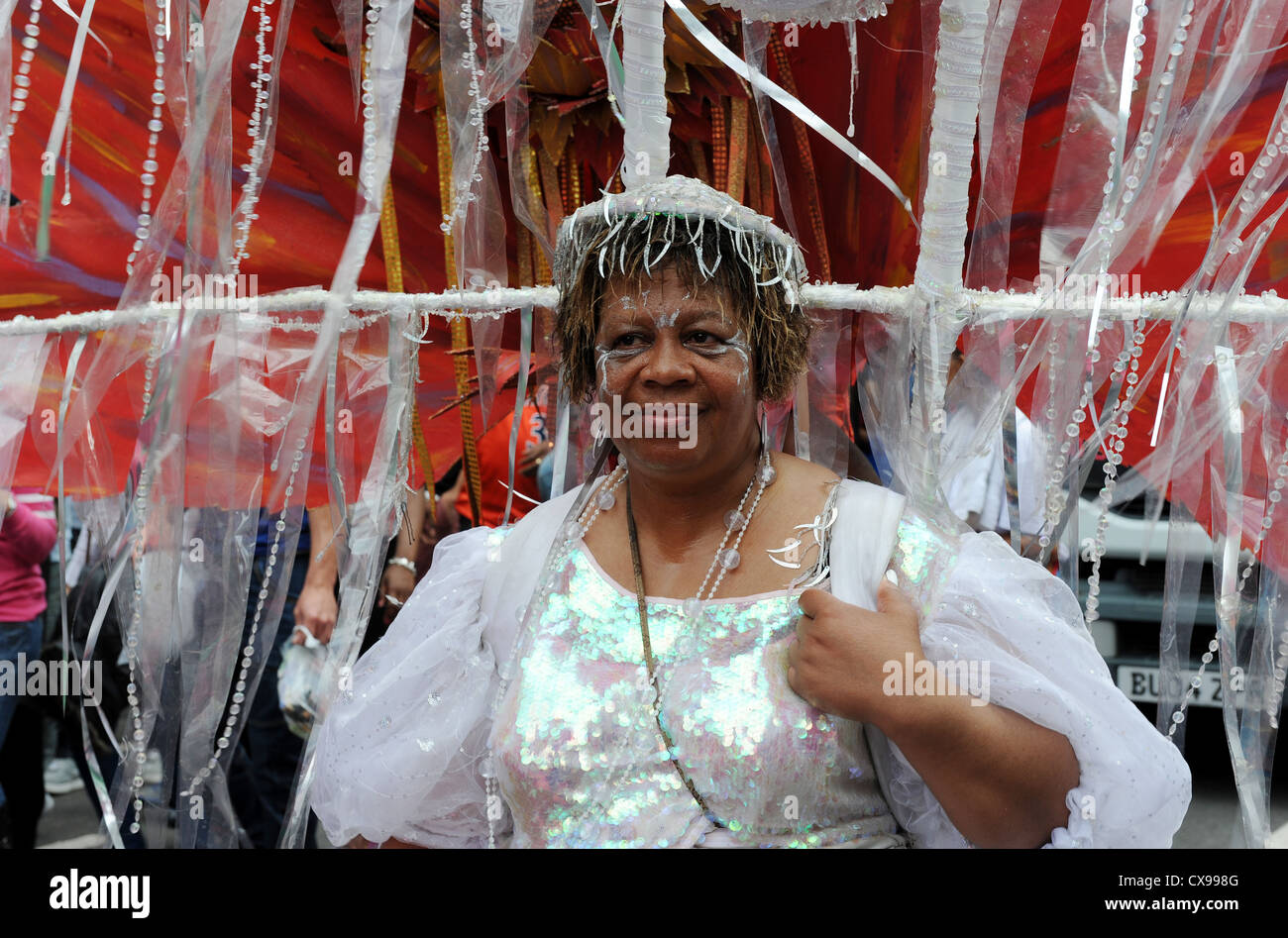 Woman in costume at Notting Hill Carnival on Monday 27th August 2012. - Stock Image