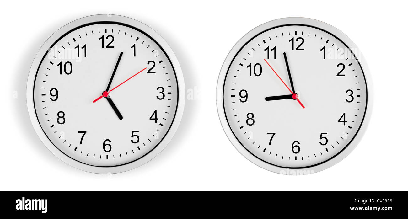Classic clock on wall isolated with clipping path included - Stock Image