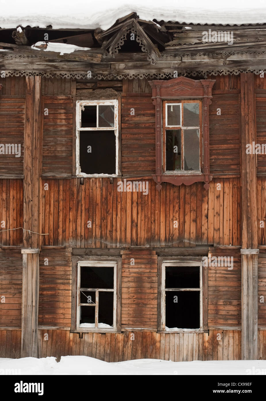 Old deserted building facade - Stock Image