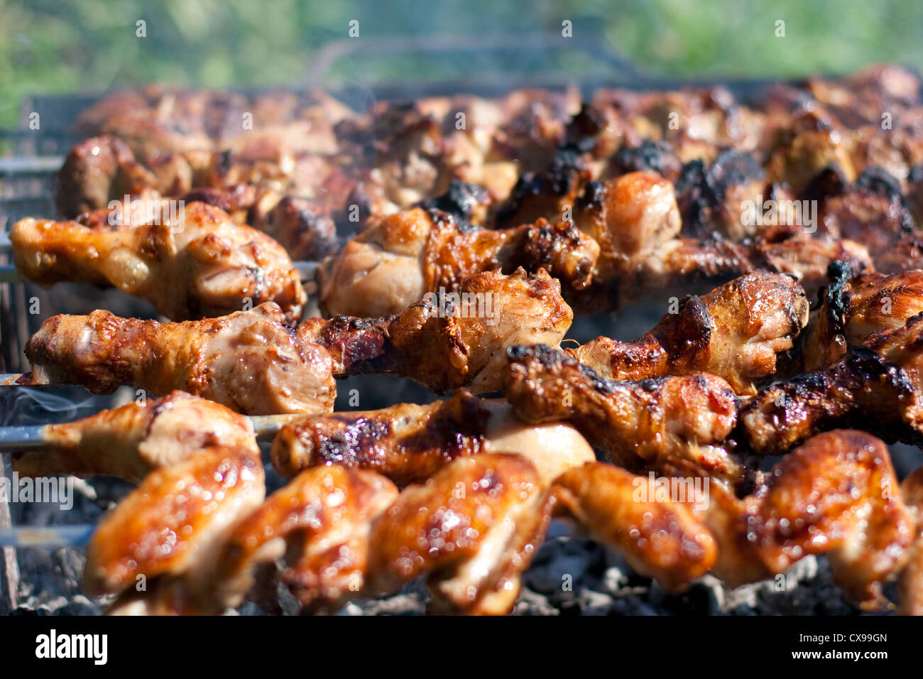 barbecue or fried chicken and pork meat - Stock Image