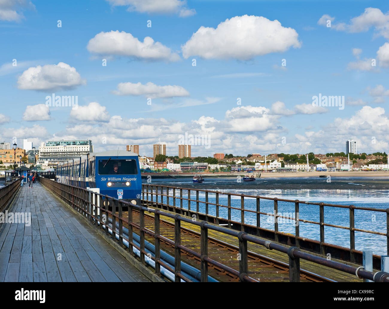 Southend pier with train. - Stock Image