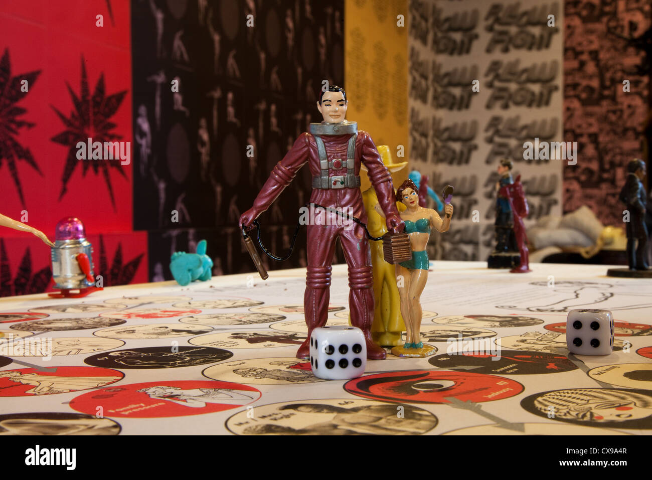 Pedro Reyes Melodrama and other Board Science Fiction Dice Games at the Liverpool UK Biennial of Contemporary Art - Stock Image