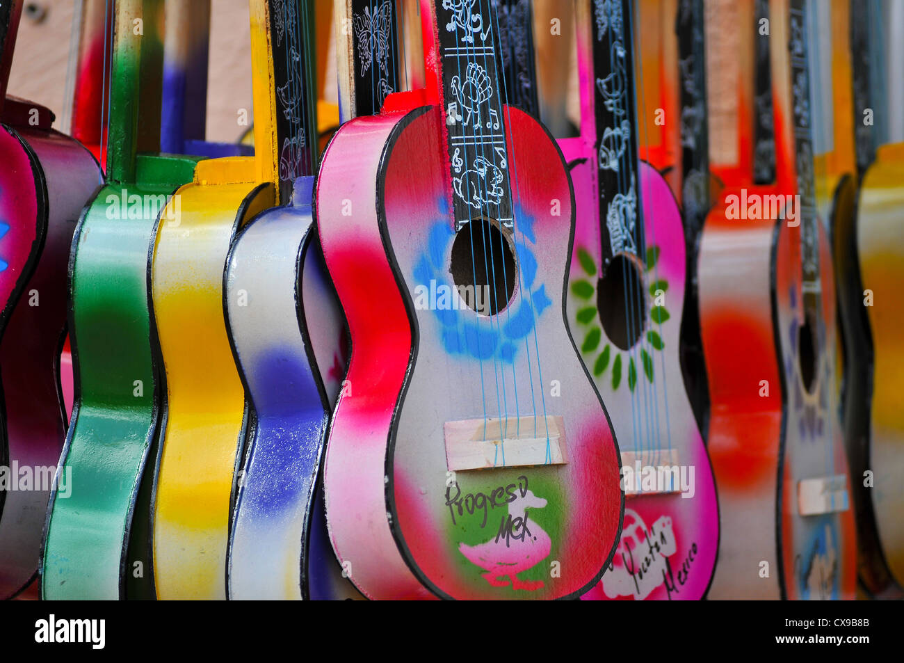 Acoustic cutaway guitar in Progresso - Mexico - Stock Image