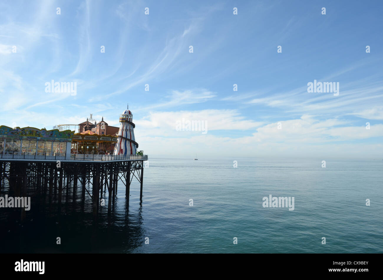 brighton pier unusual angle big sky number 3230 - Stock Image