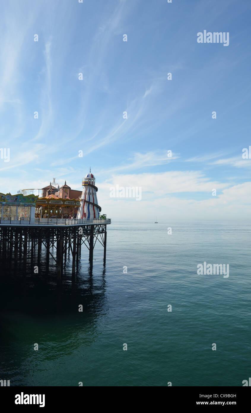 brighton pier unusual angle big sky number 3229 - Stock Image