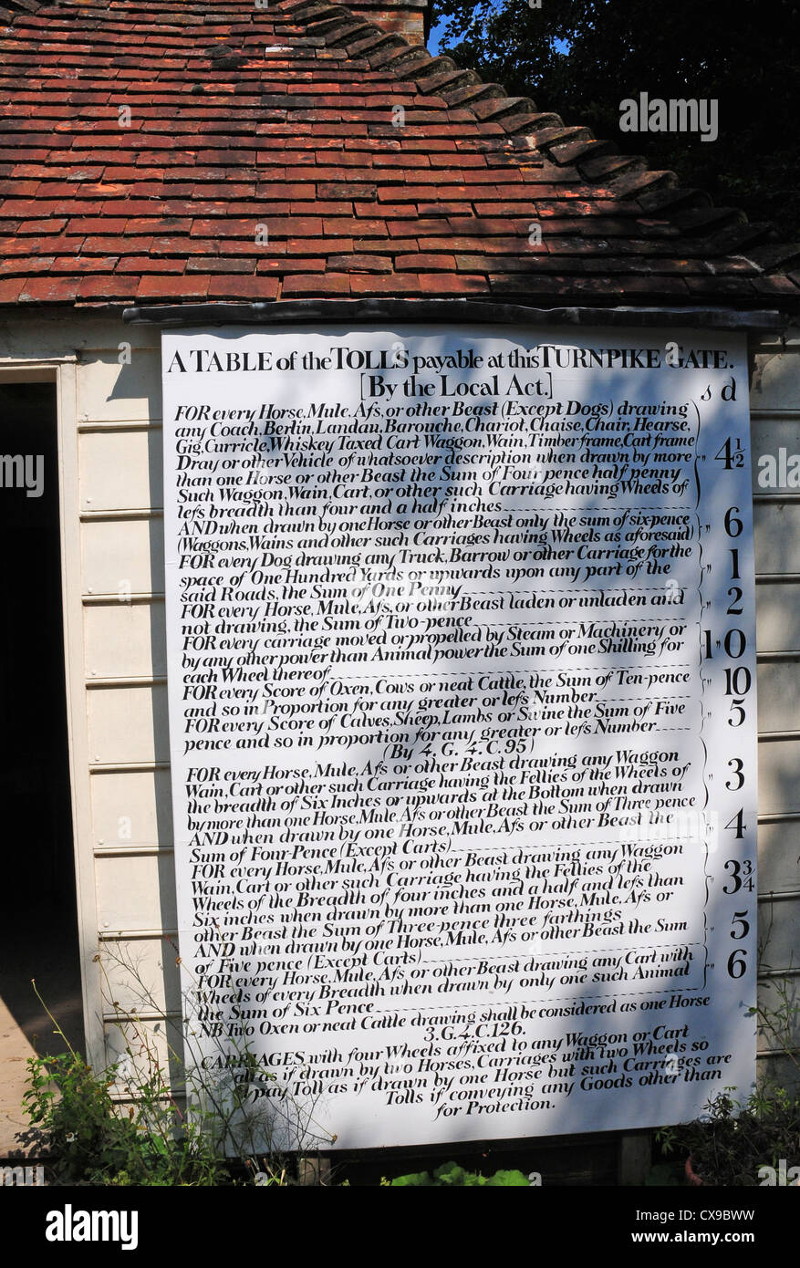 Table of tolls, displayed outside the Toll Cottage at the Weald and Downland Open Air Museum. - Stock Image