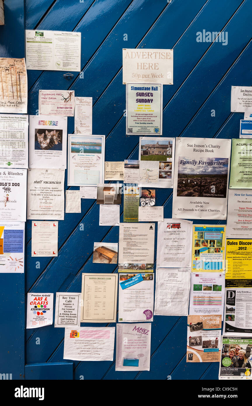 A notice board in the Uk - Stock Image