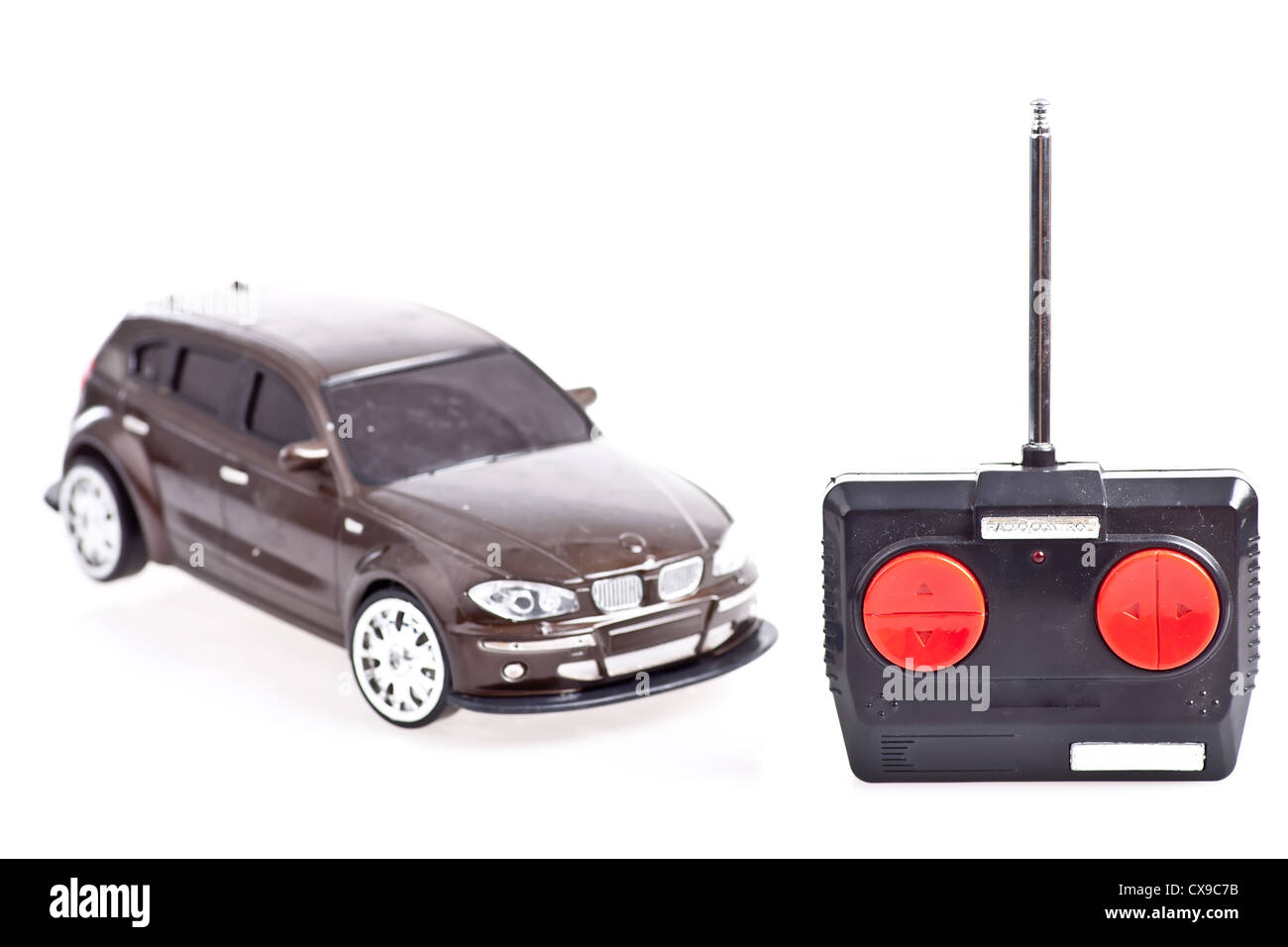 A radio controlled toy car on white background - Stock Image