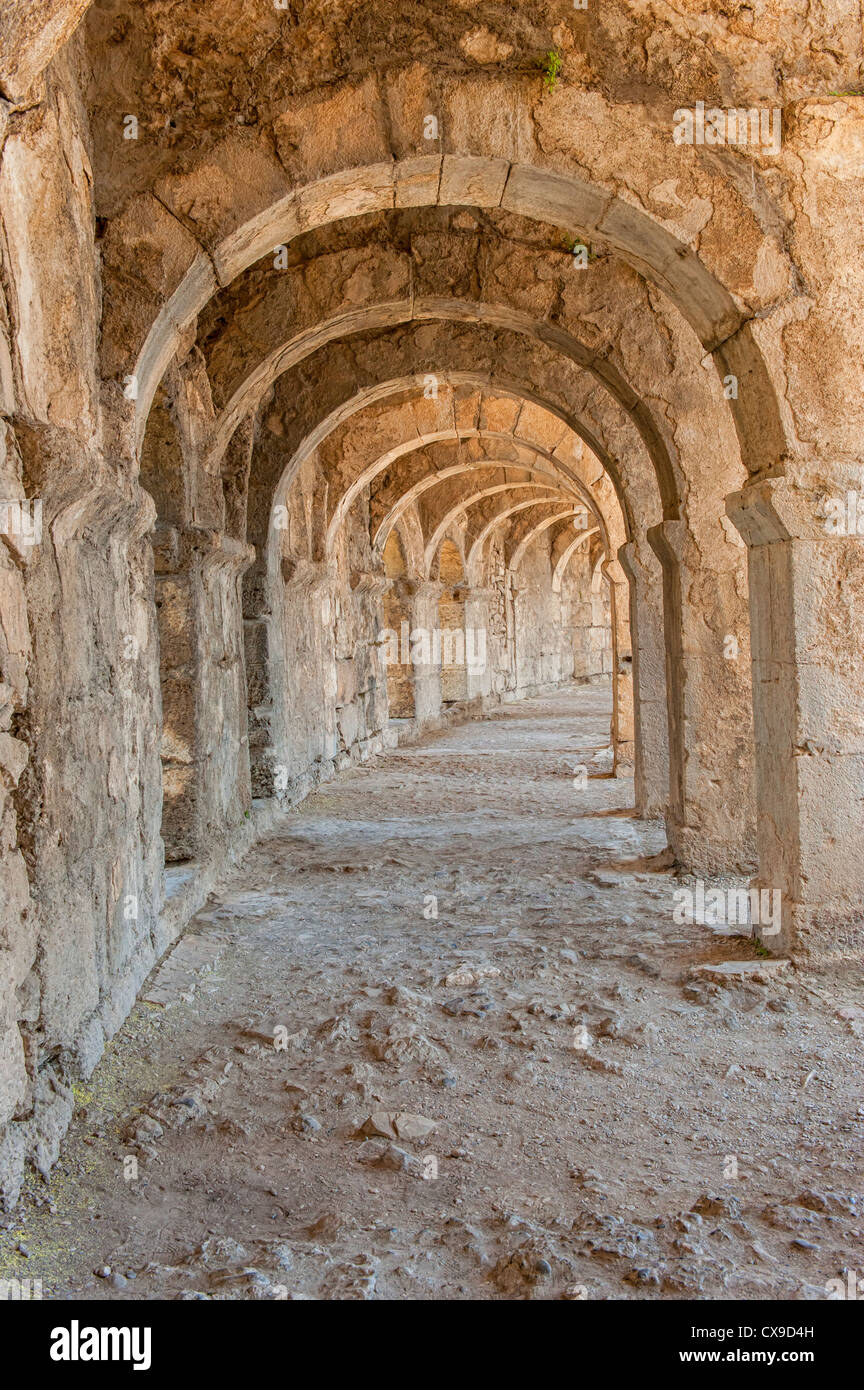 Aspendos Roman Theatre, Upper galleries, Antalya province, Turkey - Stock Image