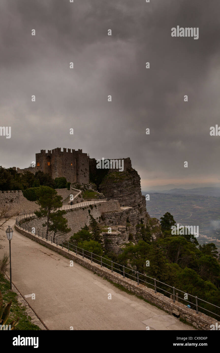 castle view, Erice, Sicily, Italy - Stock Image