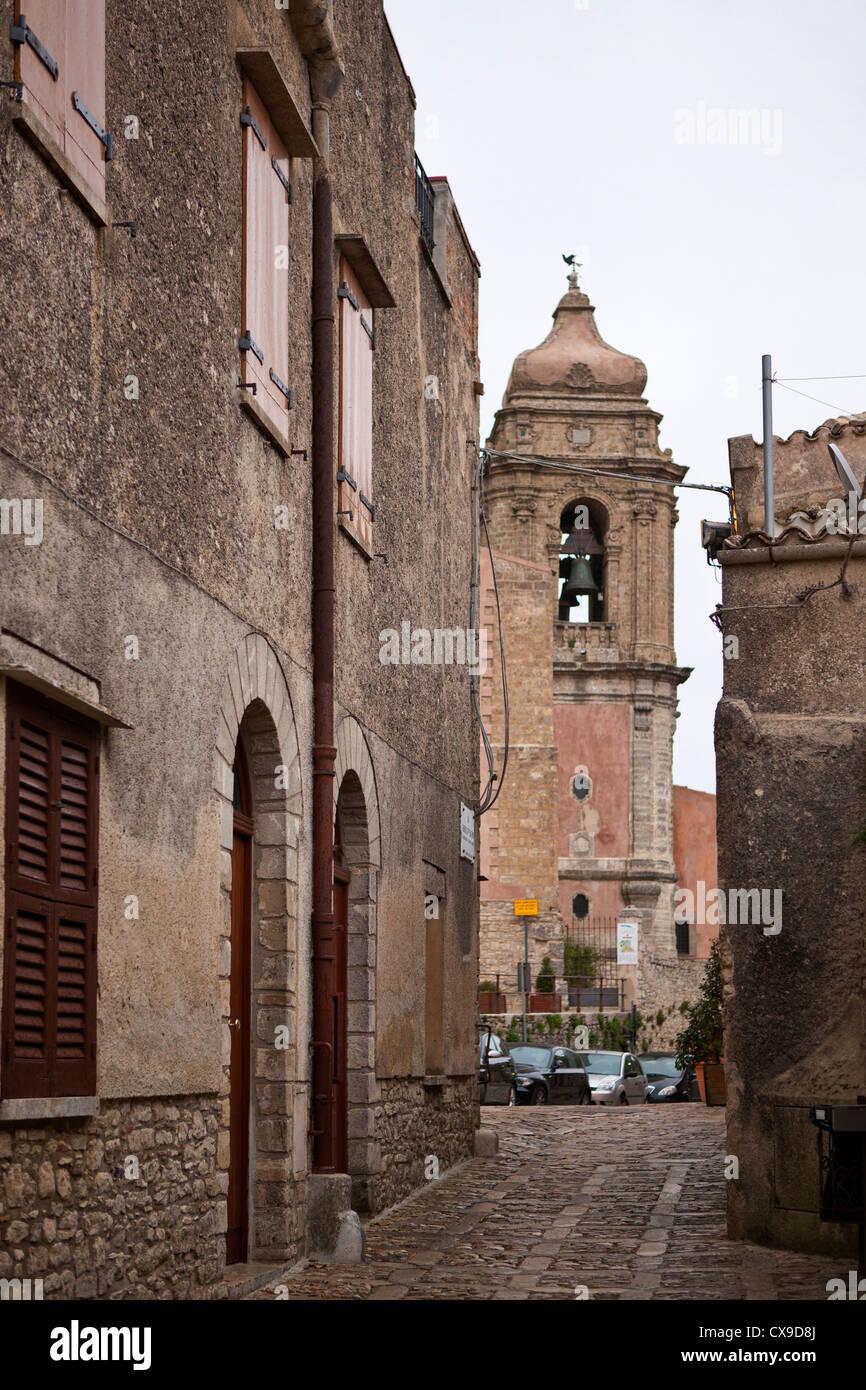 narrow cobble street, Erice, Sicily, Italy - Stock Image