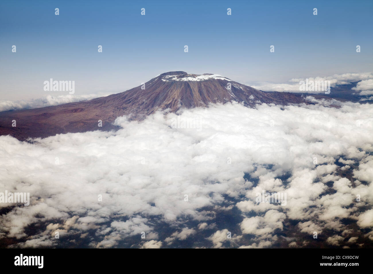Mount Kilimanjaro, Tanzania Africa - aerial view seen from the BA flight from Dar es Salaam to Heathrow - Stock Image