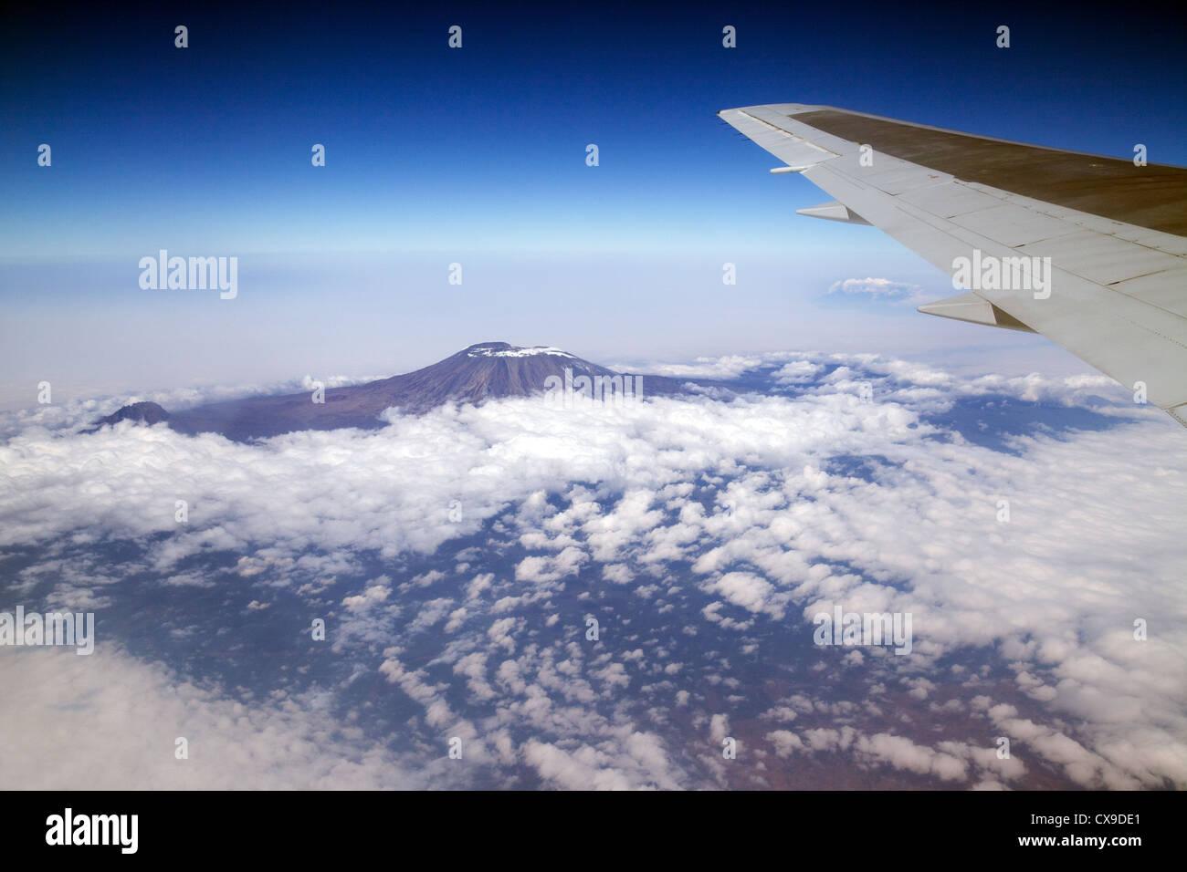 Mount Kilimanjaro, Tanzania aerial view from a plane - Stock Image