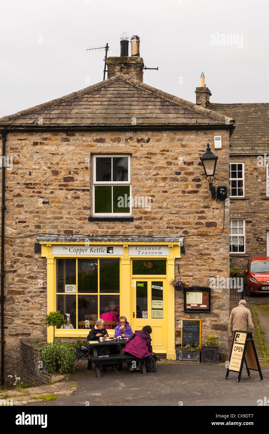 The Copper Kettle tearoom in the village of Reeth in Swaledale in North Yorkshire, England, Britain, Uk - Stock Image