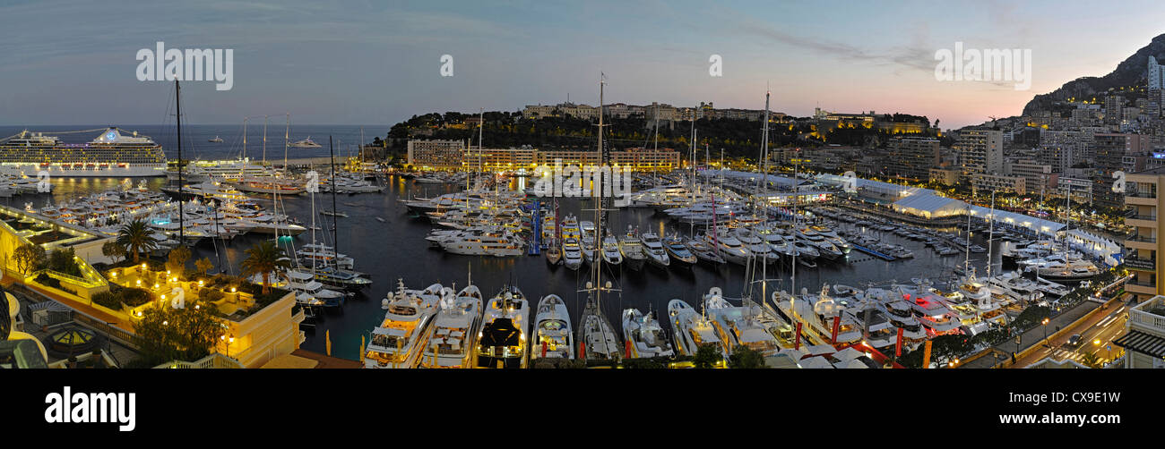 A magnificent high resolution panorama of Monaco Port Hercule duringt the 2012 Yacht Show - Stock Image