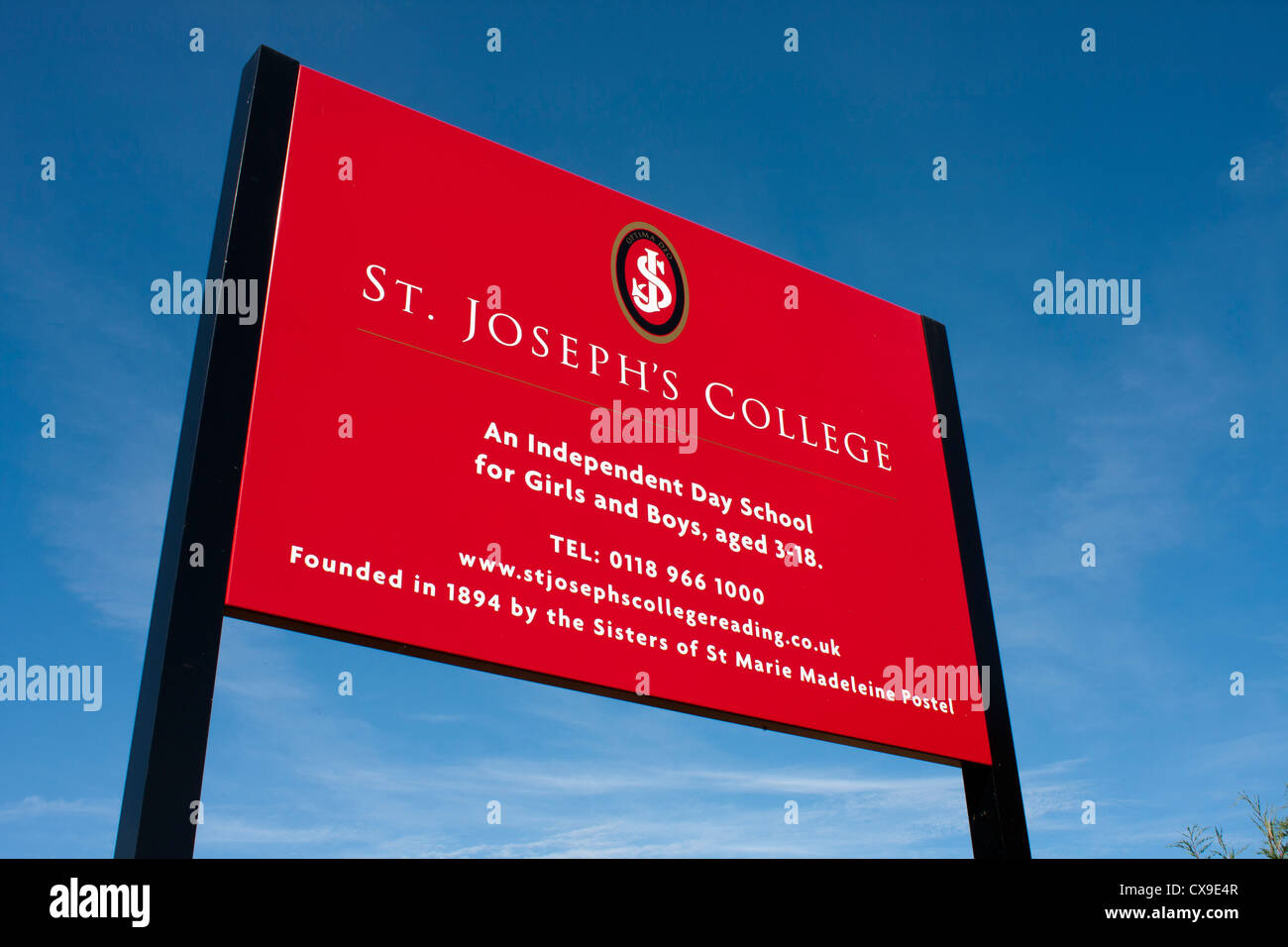 Sign outside St. Joseph's College, a co-educational, independent day school in Reading. - Stock Image