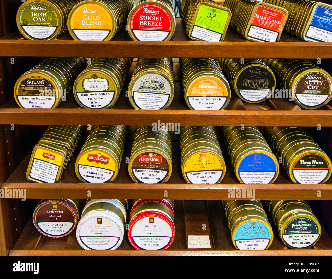 Tobacco boxes at Tobacconist shop Lausanne Switzerland Europe - Stock Image