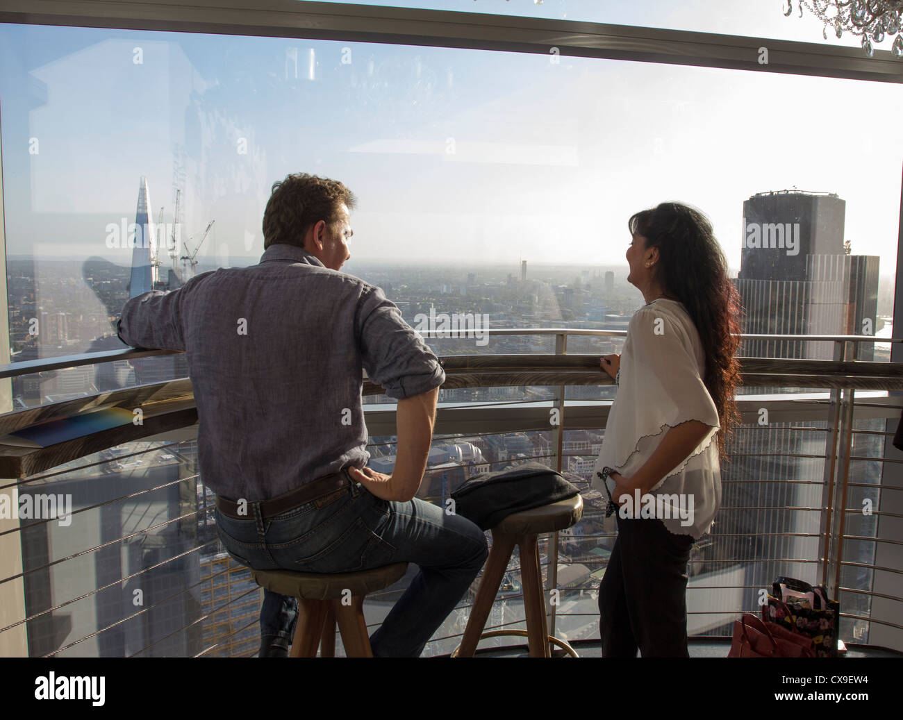 Sky Bar - 39th Floor Heron Tower - City of London - Stock Image