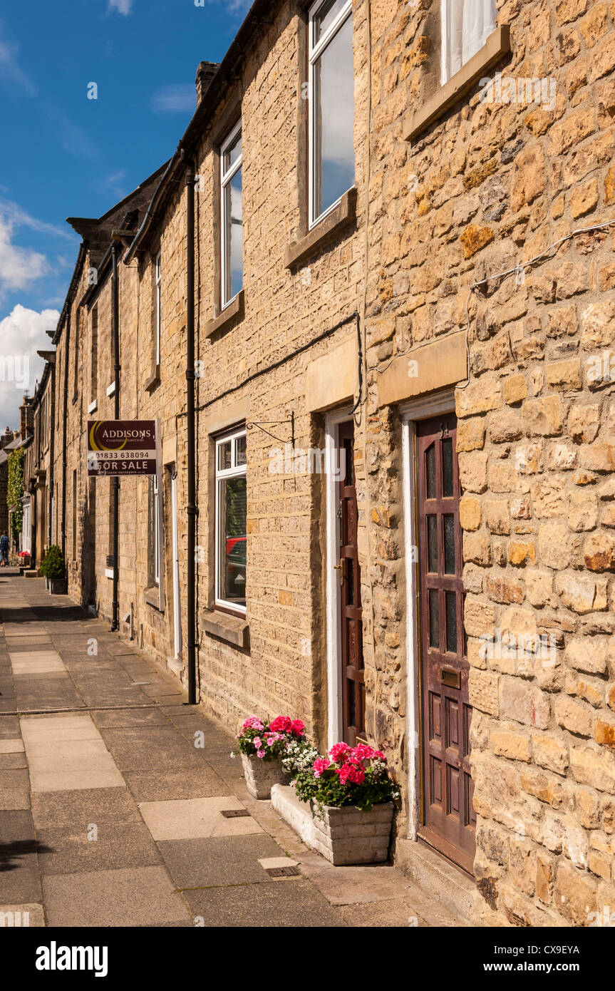 A terraced house for sale in Barnard Castle , County Durham , England , Britain , Uk - Stock Image