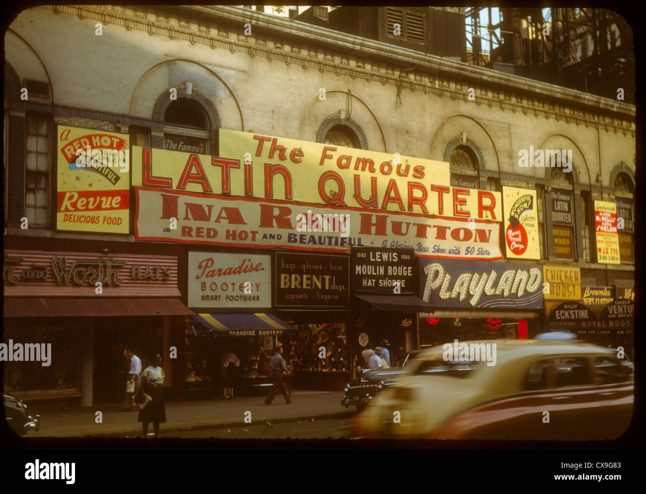 Latin Quarter 1948 1940s color kodachrome new york city manhattan ina ray hutton jazz playland billy cars street - Stock Image