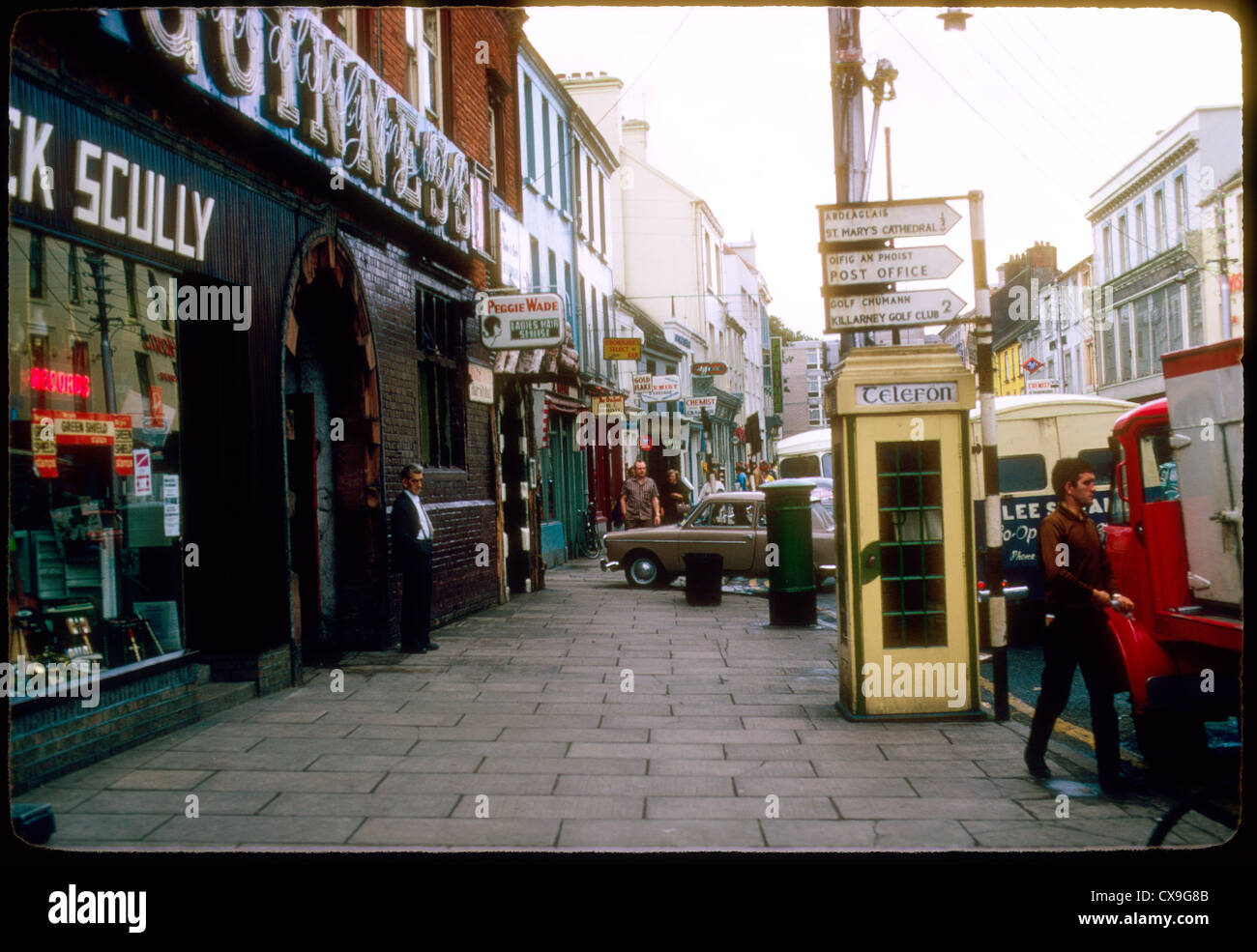 street scene ireland 1969 1960s phone booth irish europe - Stock Image