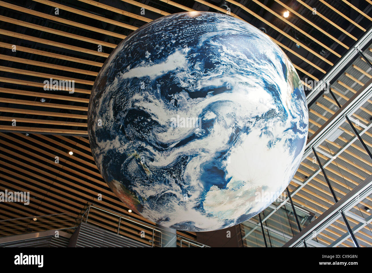 Giant Earth globe in the atrium of the Vancouver Convention Centre, Vancouver,  Canada - Stock Image