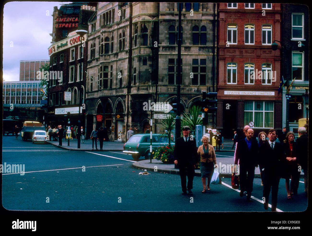 street scene dublin ireland 1969 1960s people crossing street crosswalk travel - Stock Image