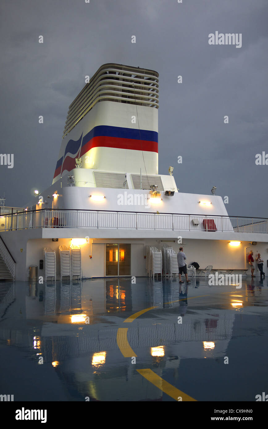 On board Brittany Ferries' Pont-Aven at Santander, Spain. - Stock Image