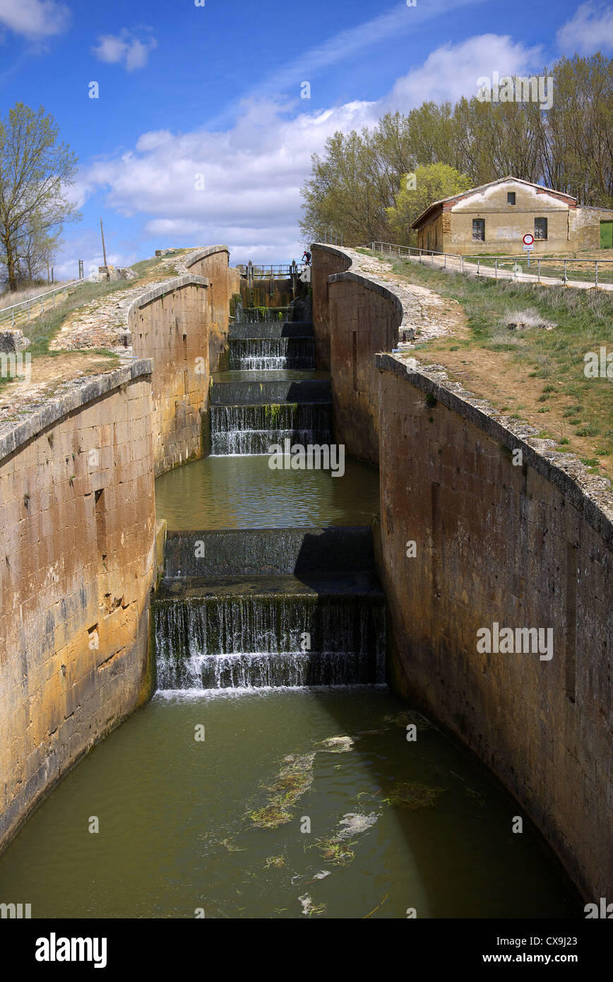 The Canal de Castilla and esclusa at Fromista, Spain. - Stock Image