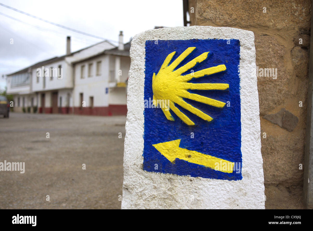 Scallop shell marker for the camino to Santiago de Compostela, Spain. - Stock Image