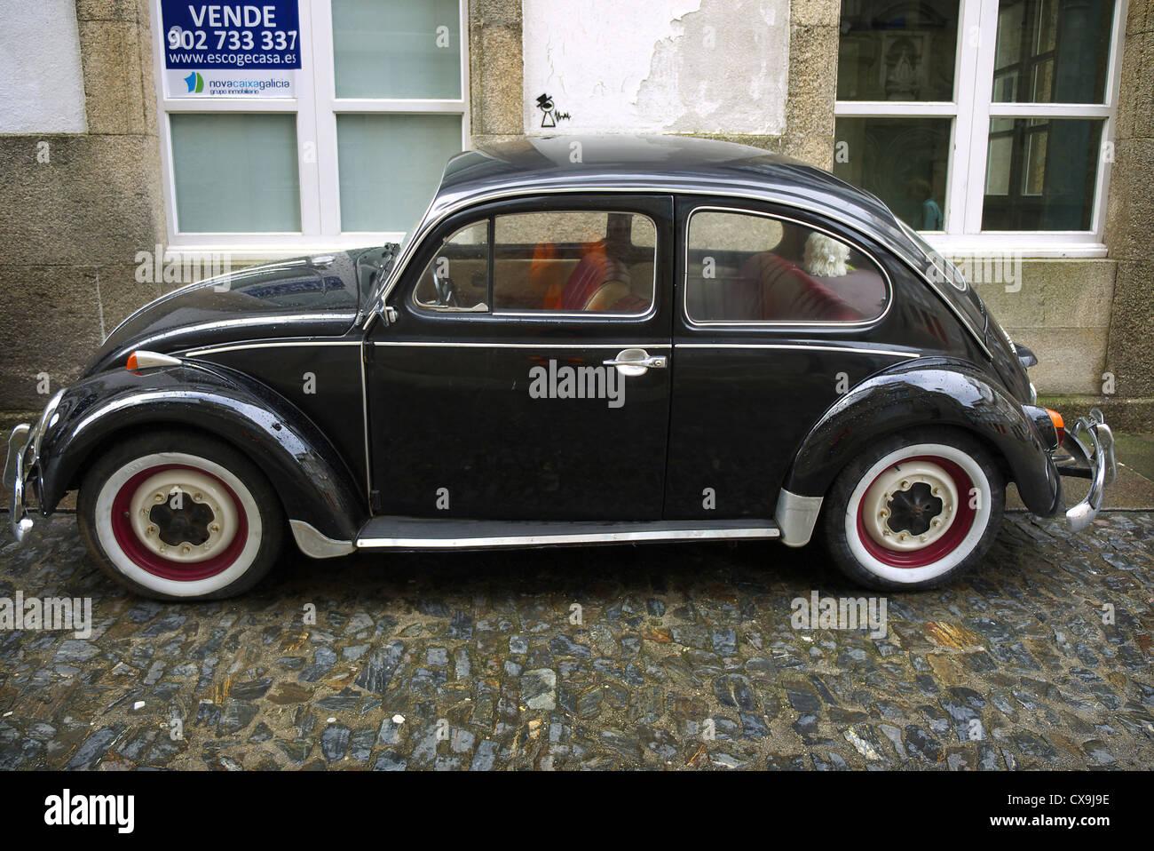 Black Volkswagen Beetle. Spain. - Stock Image