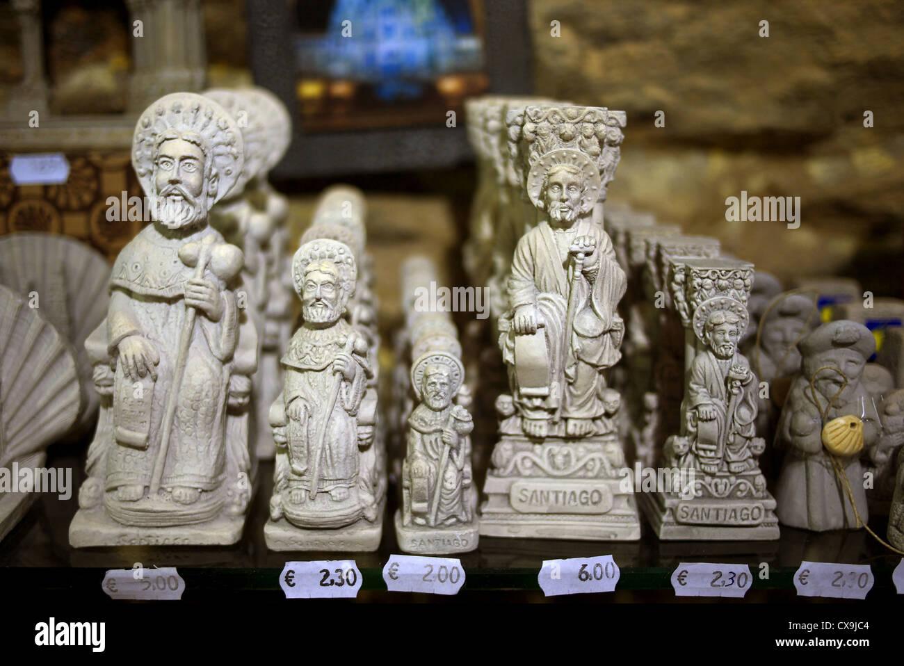 Santiago de Compostela, Spain. Figurines of St. James on sale in a souvenir shop. Stock Photo