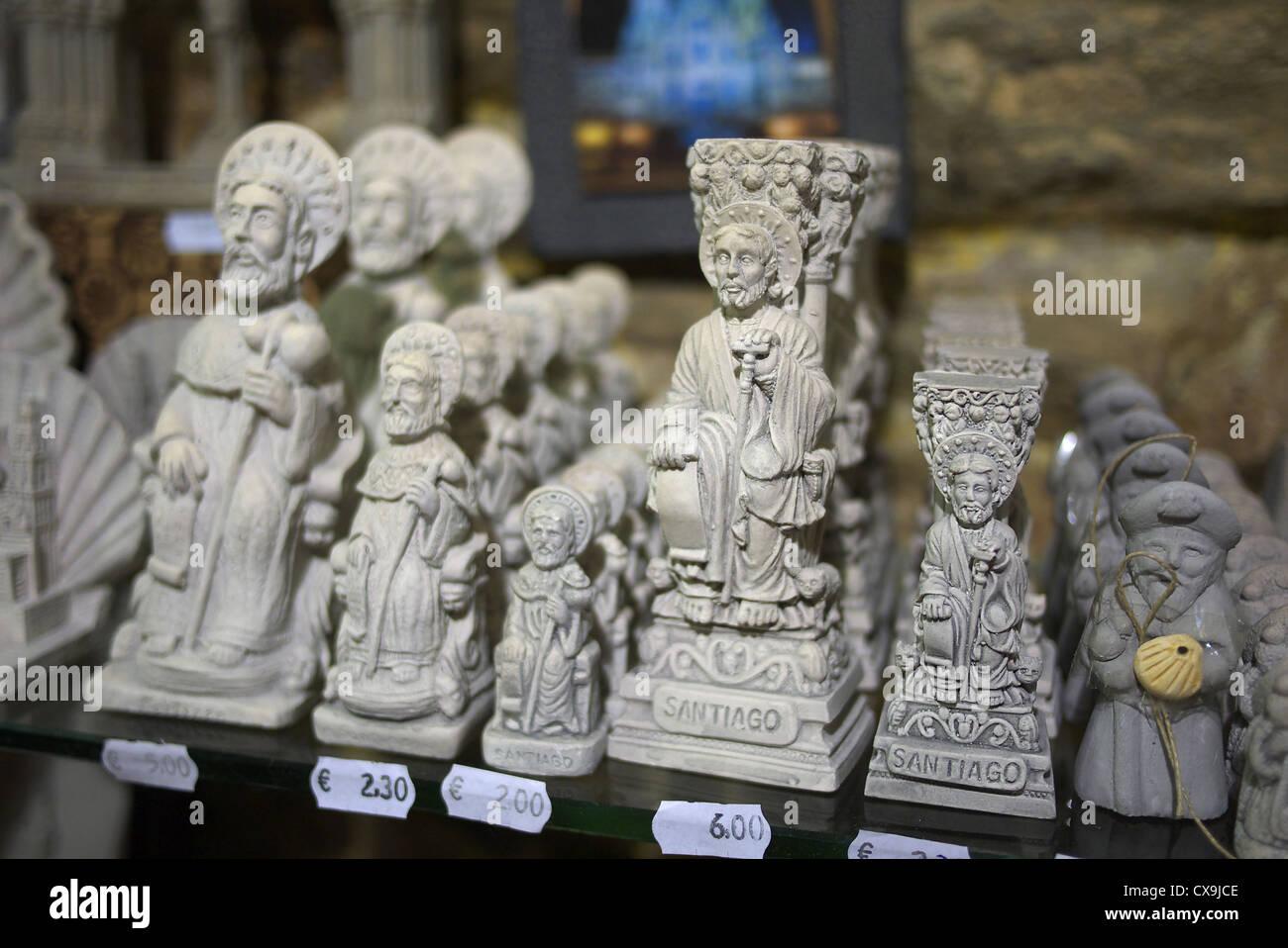 Souvenirs of Saint James on sale in Santiago de Compostela, Spain. Stock Photo