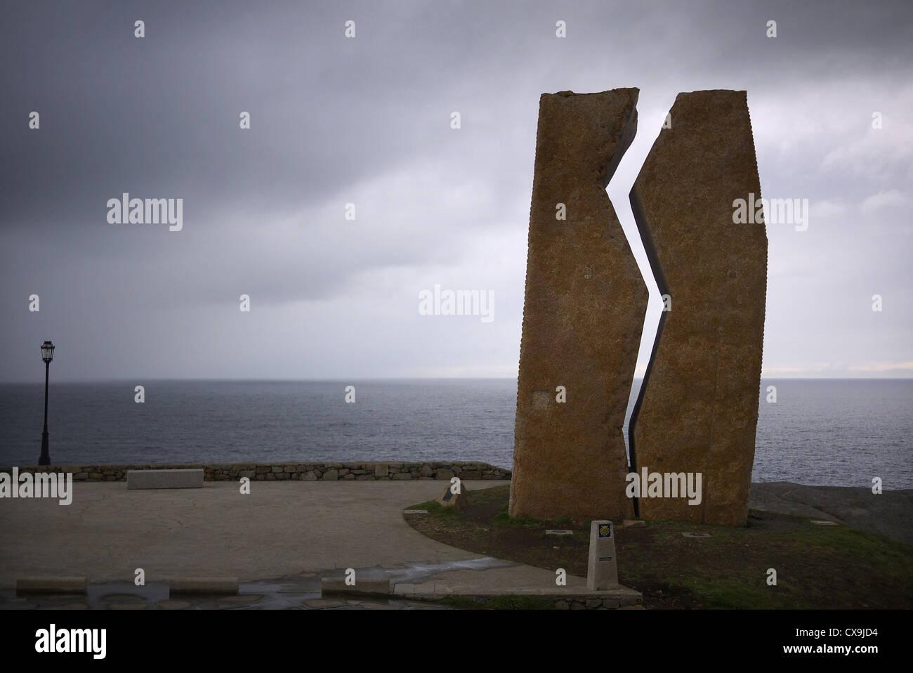 Muxia, Spain. Memorial to the Prestige oil spill. - Stock Image