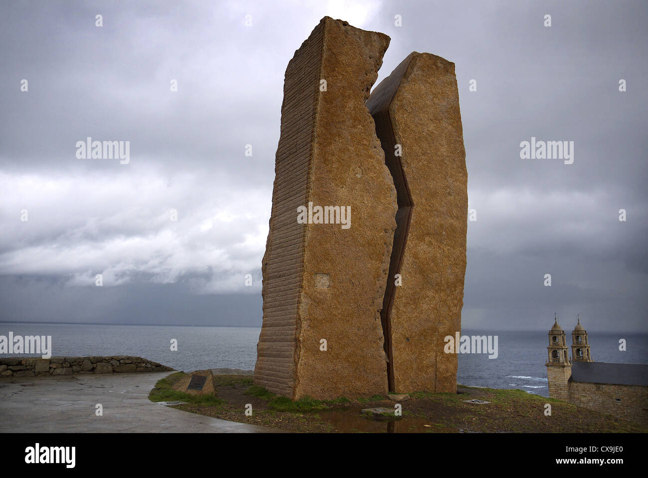Monument to the Prestige oil spill in Muxia, Galicia, Spain. - Stock Image