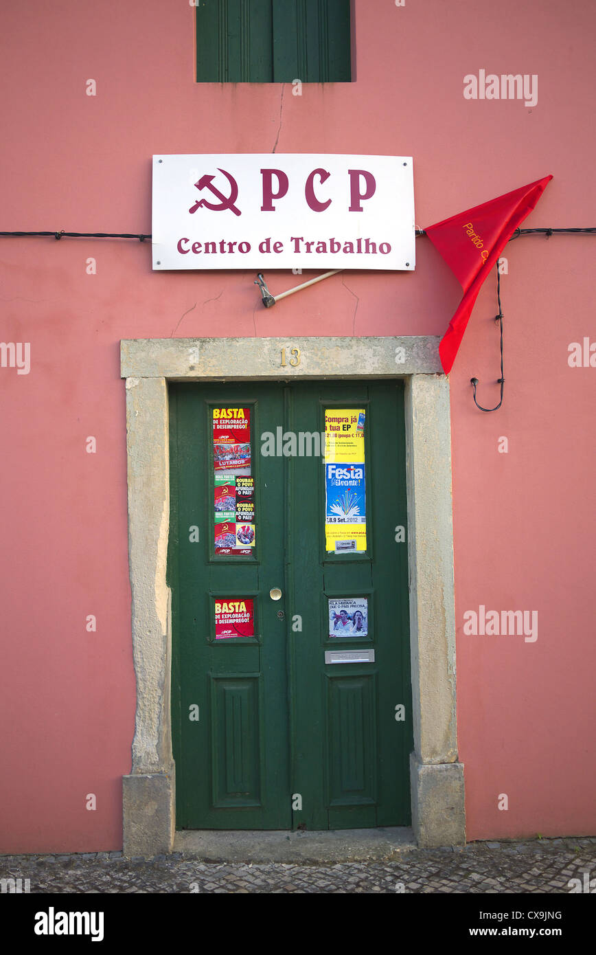 Portuguese Communist Party office in Soure in Portugal. - Stock Image
