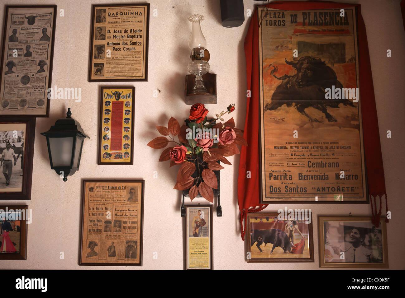 Bull fighting memorabilia inside a taverna in Golega, Portugal. - Stock Image