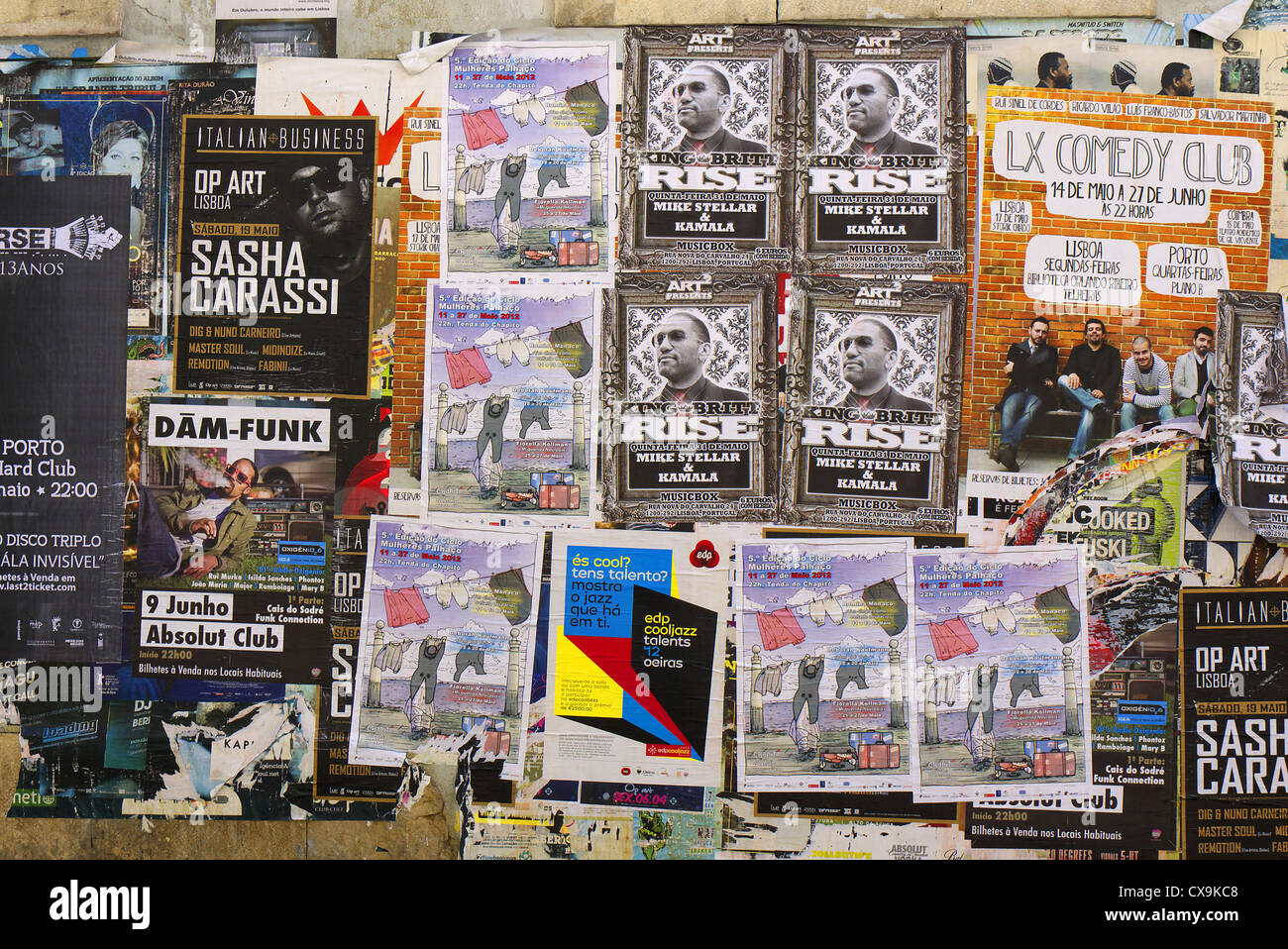 Bill Posters On A Wall In Lisbon Portugal Stock Photo