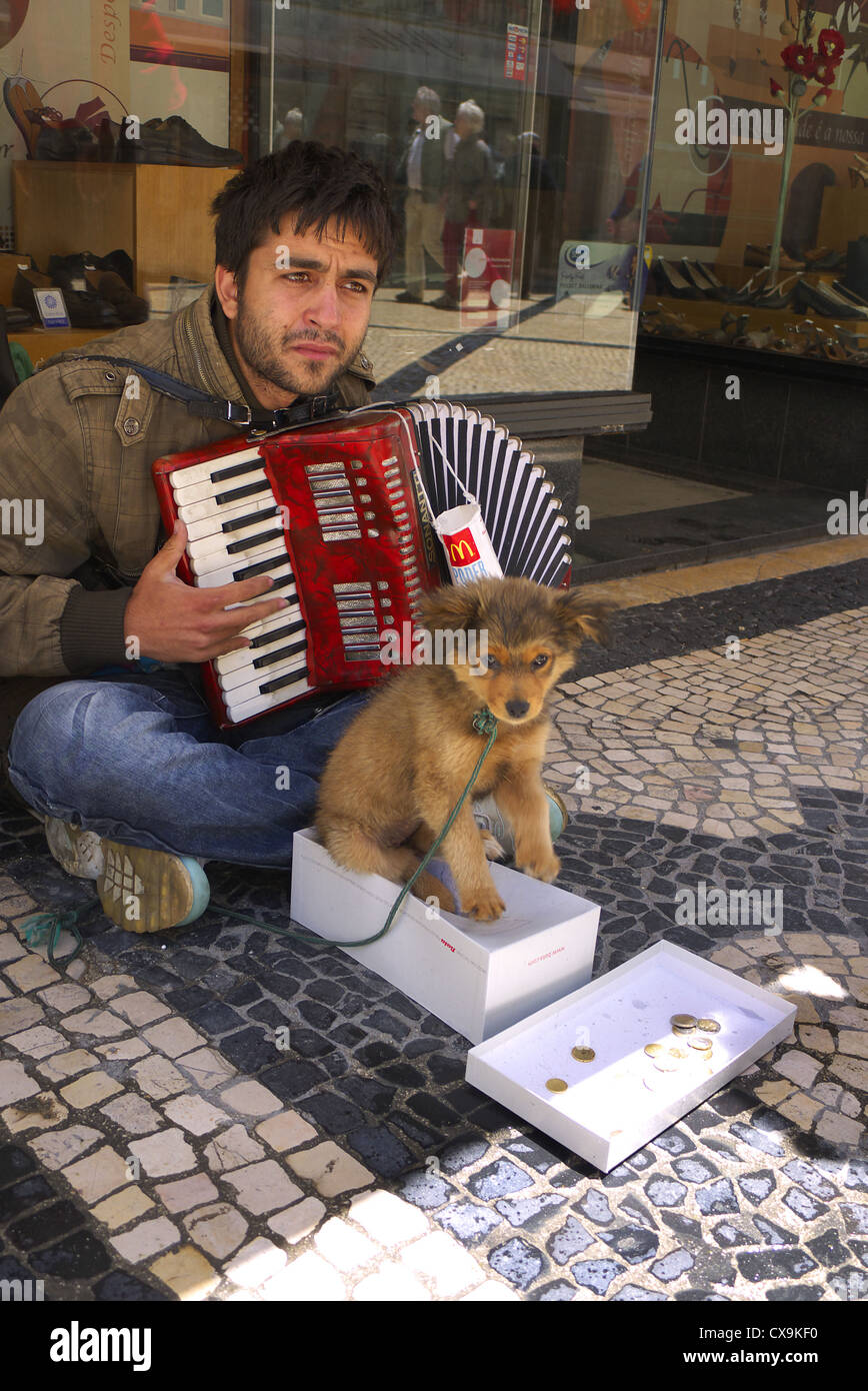 Busker with a puppy in Lisbon, Portugal. - Stock Image