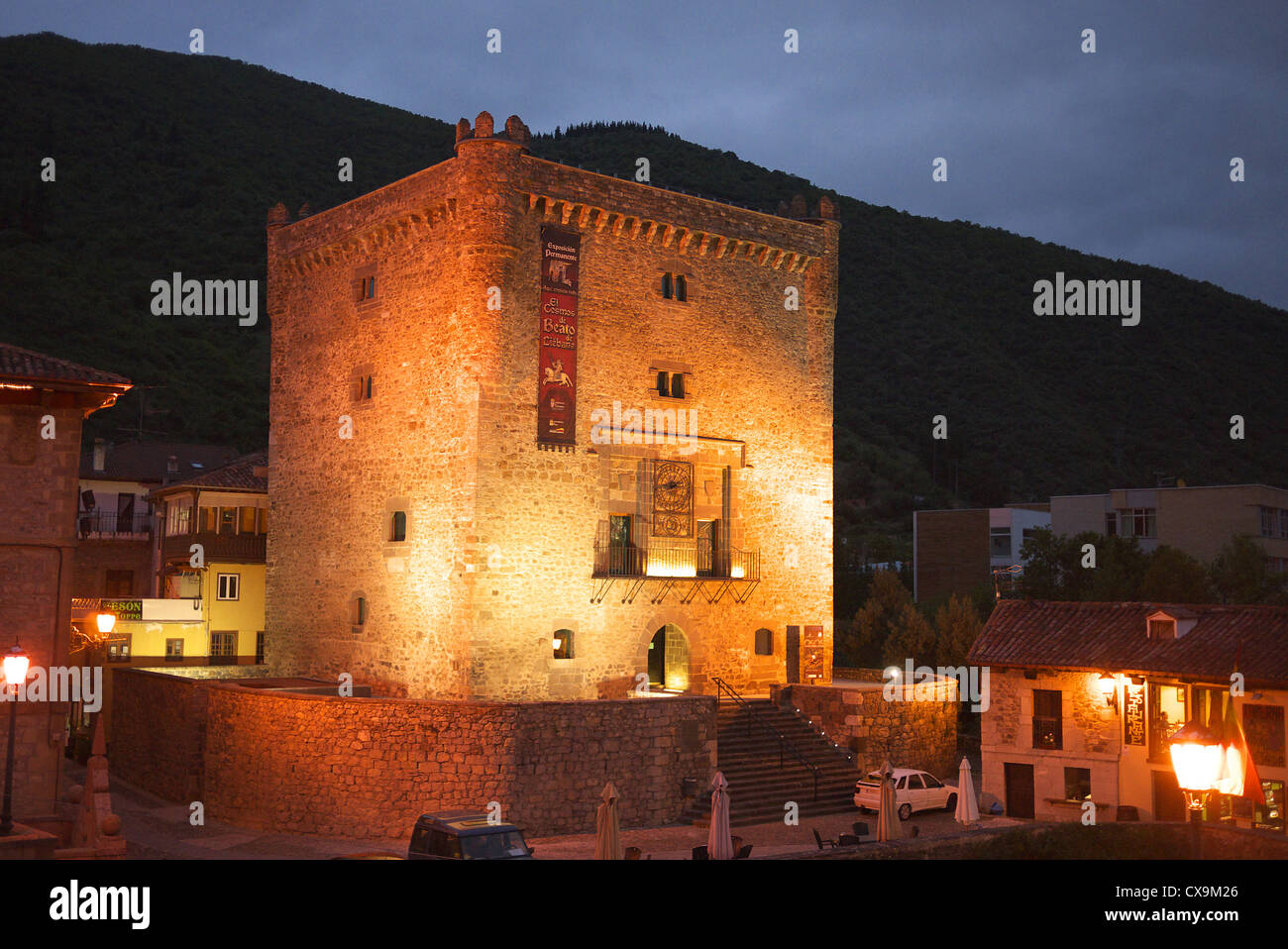 The castle at Potes in the Picos de Europa, Spain. - Stock Image