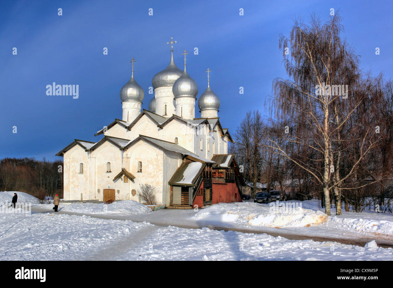 Church of Sts Boris and Gleb in Plotniki (1536), Veliky Novgorod, Novgorod region, Russia - Stock Image