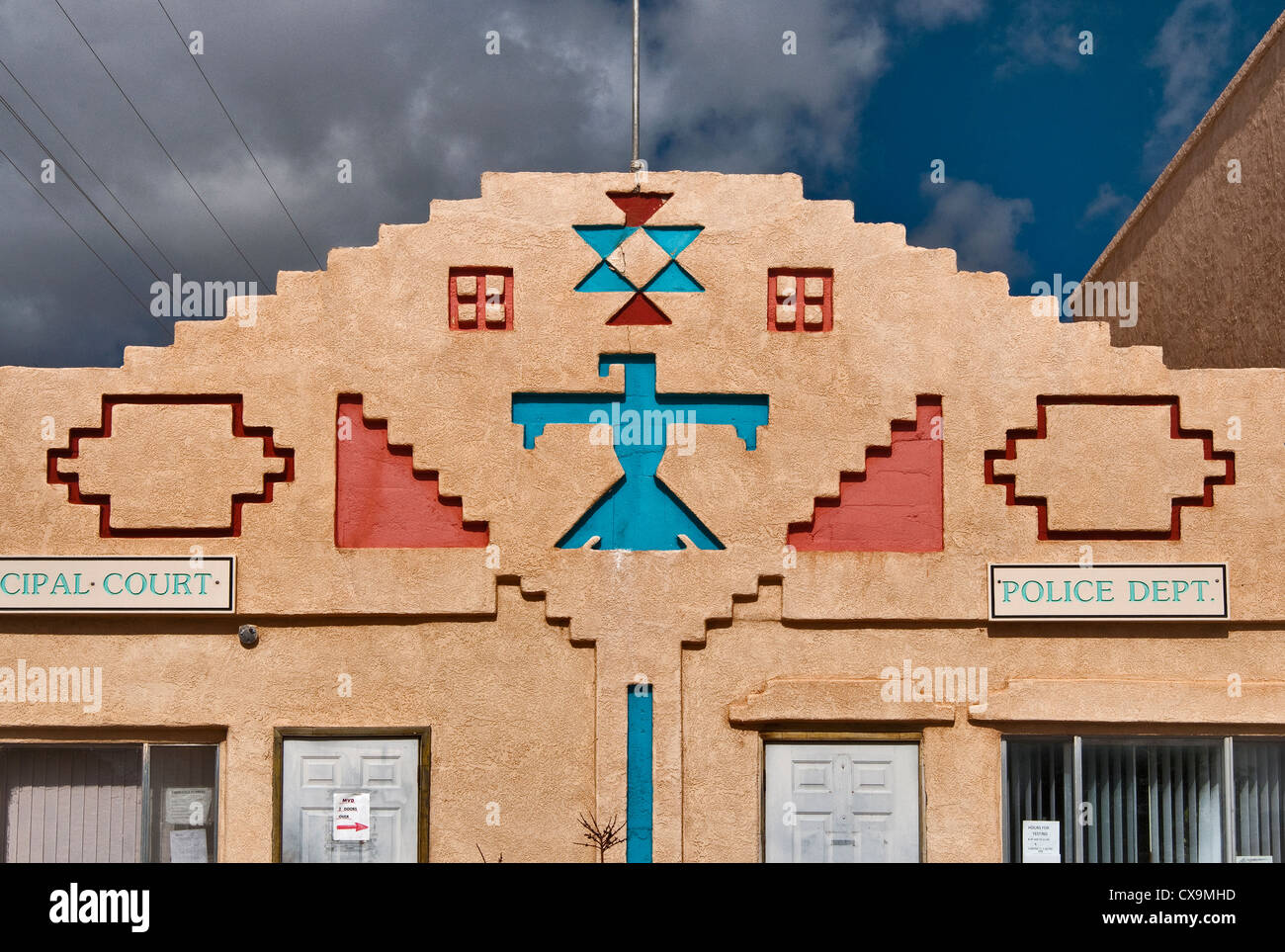 Indian art inspired motifs at police and court building in Mountainair, New Mexico, USA - Stock Image
