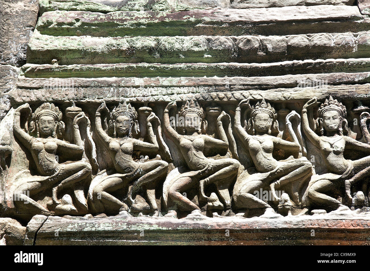 temple details Angkor Cambodia Asia - Stock Image