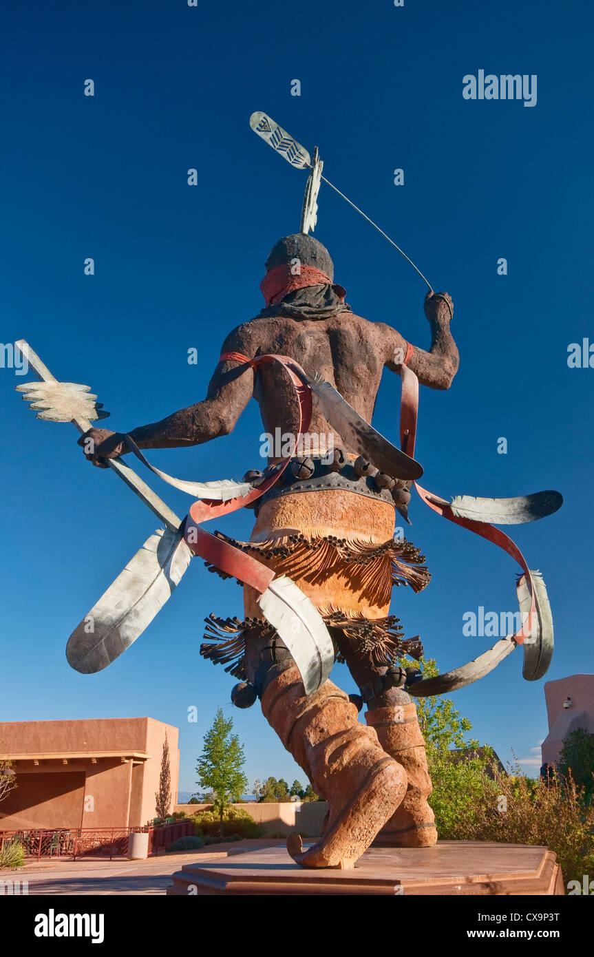 Apache Mountain Spirit Dancer, bronze sculpture by Craig Dan Goseyun, Museum of Indian Arts & Culture, Santa - Stock Image