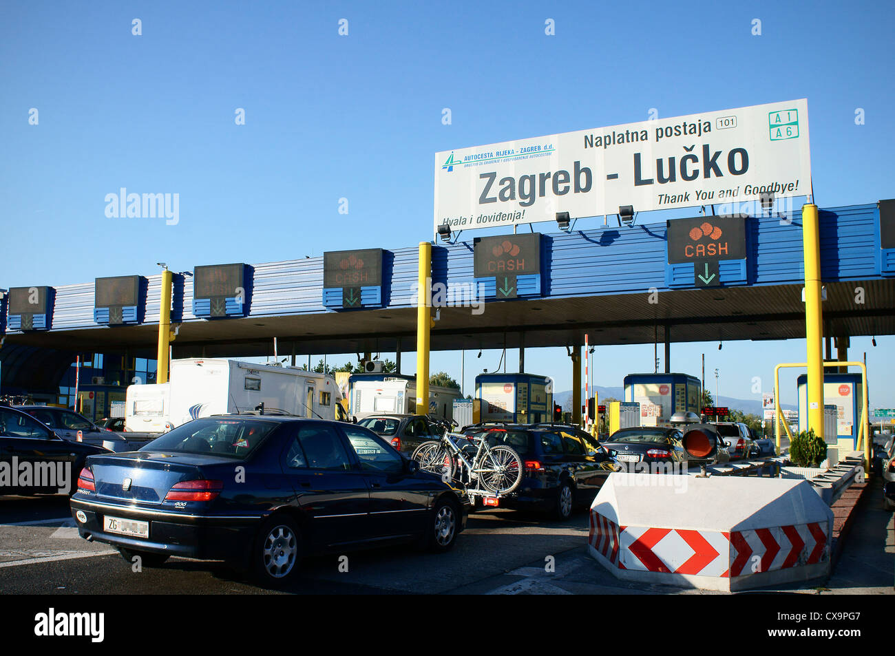 A1 Motorway Highway Zagreb Lucko Sign Cestarina Pay Toll Stock Photo Alamy