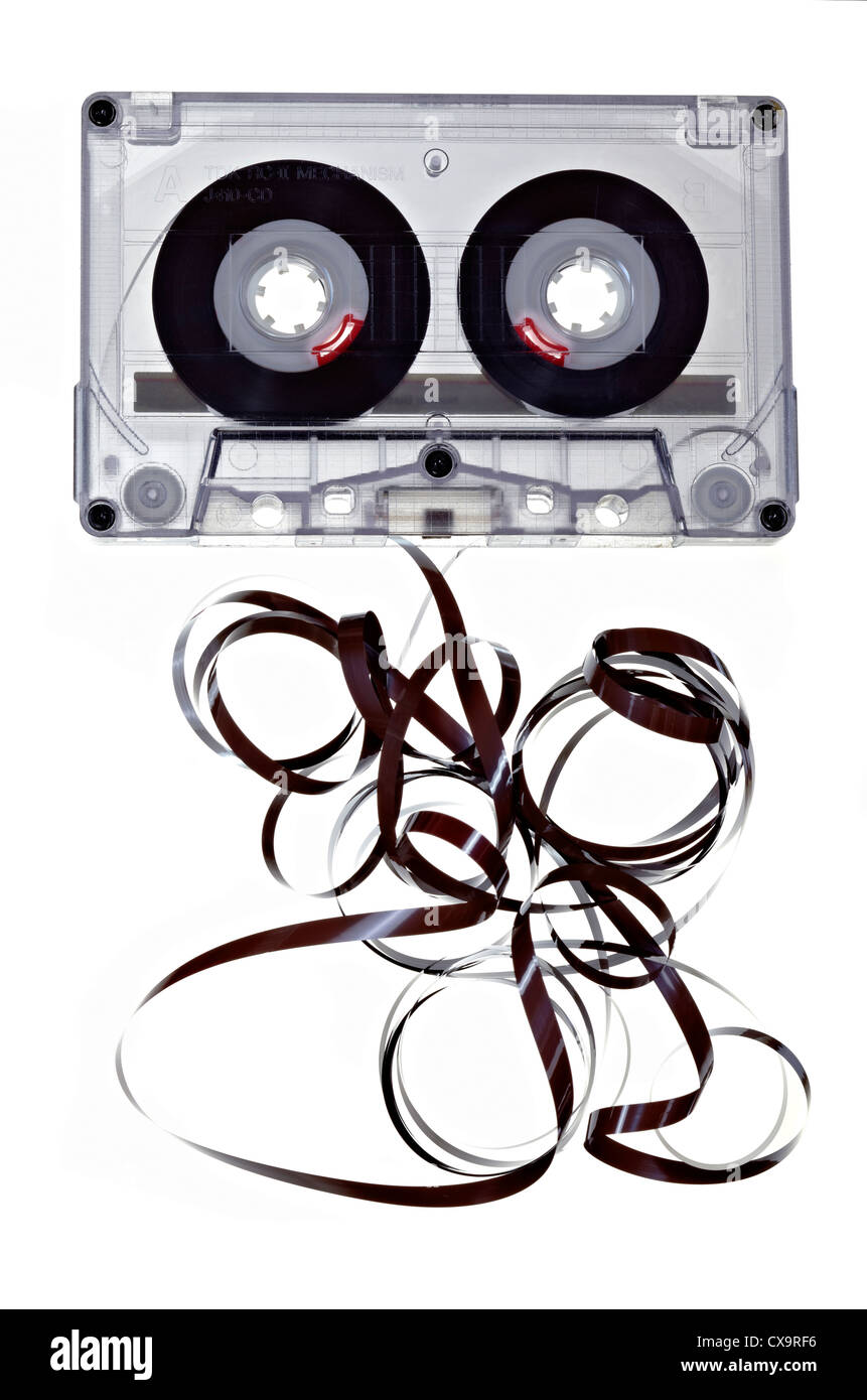 Cassette Tape white background - Stock Image