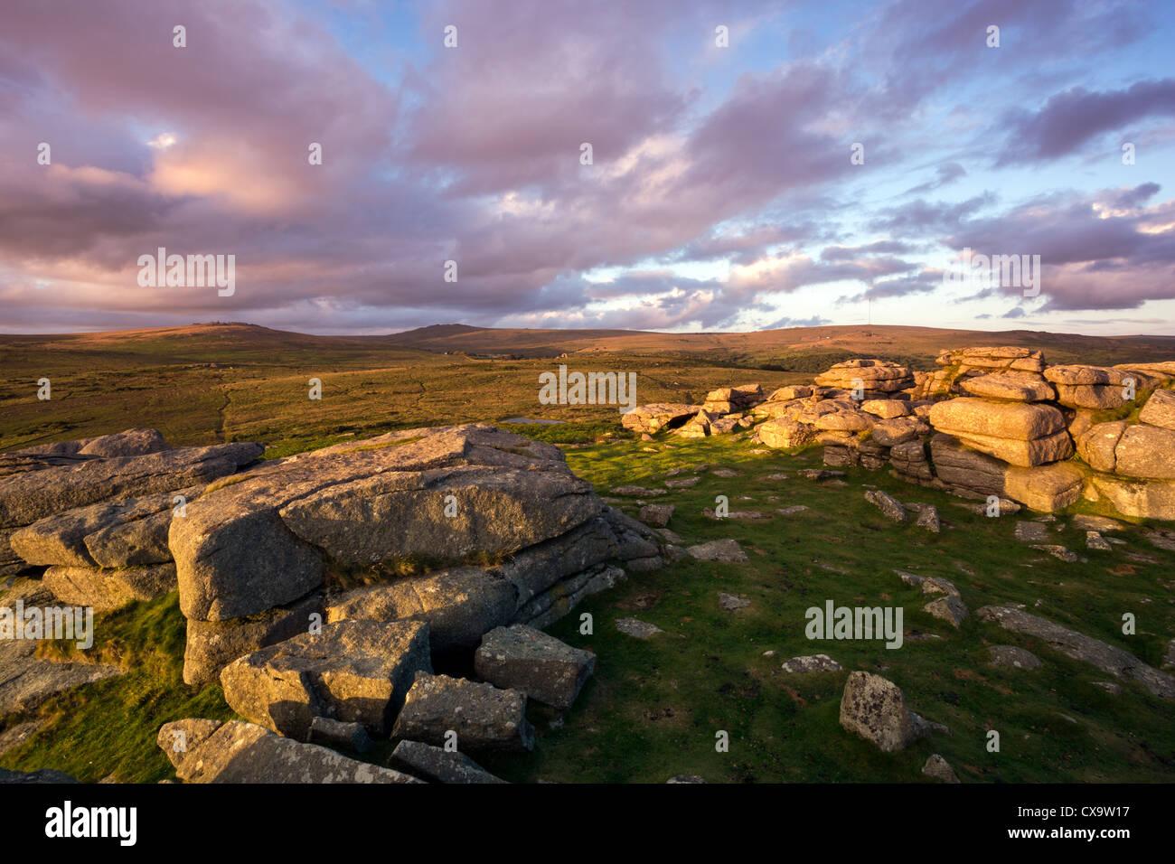 Pew Tor looking towards Cox Tor and Staple Tor. Dartmoor Devon - Stock Image
