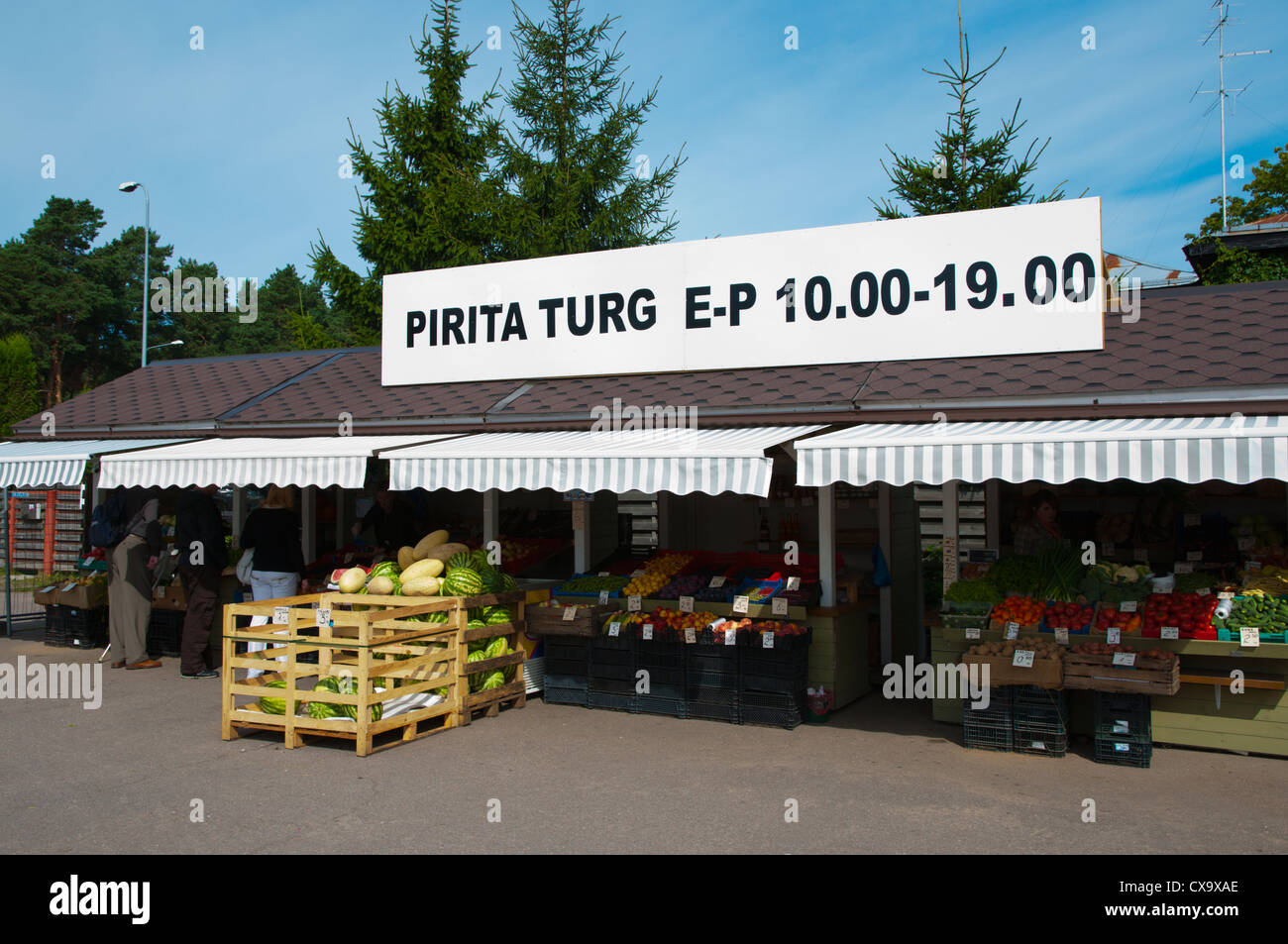 Market stalls selling fresh produce Pirita district Tallinn Estonia Europe Stock Photo