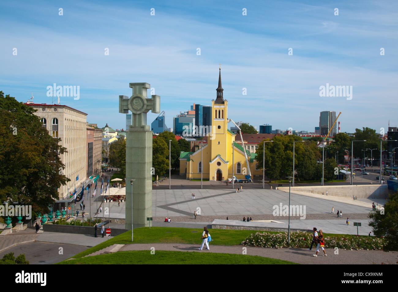 Vabaduse väljak the Independence square central Tallinn Estonia Europe - Stock Image