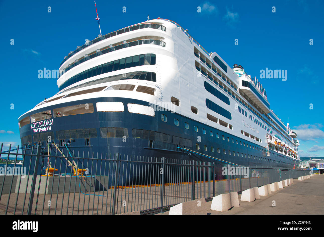 Cruise ship anchored passenger port in Pipervika district by the passenger port Sentrum central Oslo Norway Europe - Stock Image